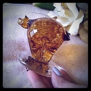 Vintage Speckled Amber Glass Blown Animal Figurine